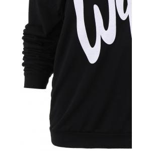 Sexy Letter Printed Slash Neck Pullover Sweatshirt For Women -