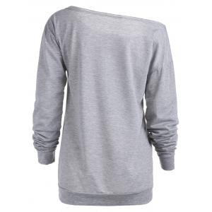 Sexy Letter Printed Slash Neck Pullover Sweatshirt For Women - GRAY XL