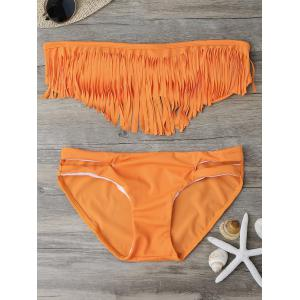 Fringed Bandeau Bikini Set - Orange - S