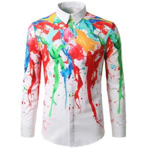 Hidden Button Paint Splash Shirt -