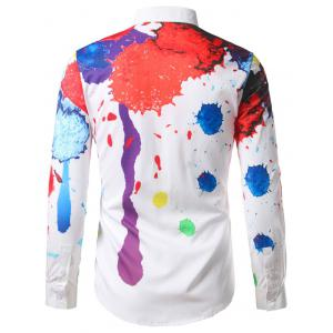 Hidden Button Splatter Paint Colorful Shirt -