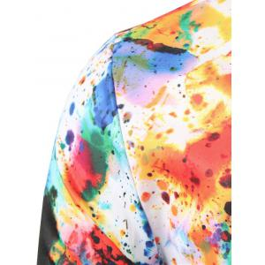 Hidden Button Colorful Paint Splatter Shirt -