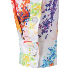 Hidded Button Maple Leaf Print Colorful Shirt -