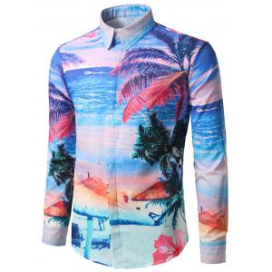 Hidden Button Beach Printed Hawaiian Shirt -