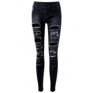 Ripped Hole Five Pockets Skinny Jeans -