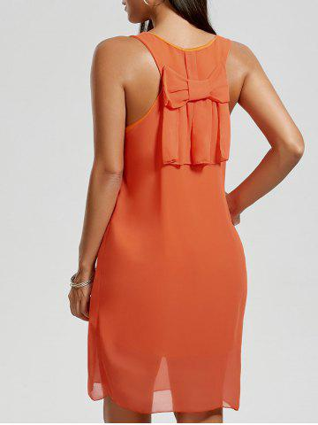 Bowknot Chiffon Tank Dress Orange M