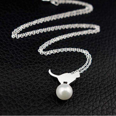 Tiny Faux Pearl Kitten Charm Necklace - Silver