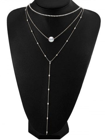 Faux Pearl Rhinestone Layered Necklace - Silver