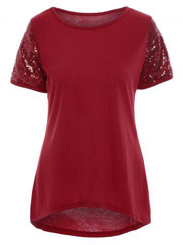 High Low Sequin Top - Red - Xl