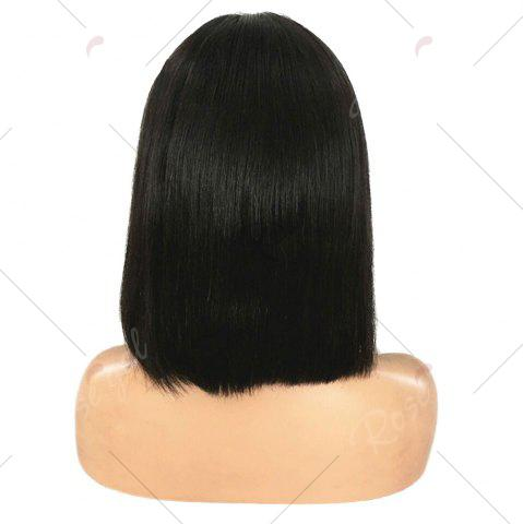 Best Short Middle Part Glossy Straight Bob Lace Front Synthetic Wig - 12INCH BLACK Mobile