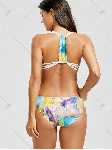 Affordable Abstract Print Backless Straps Swimwear - S COLORMIX Mobile
