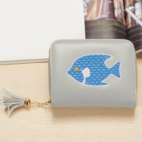 Trendy Tassel Cartoon Patch Small Wallet - GRAY  Mobile