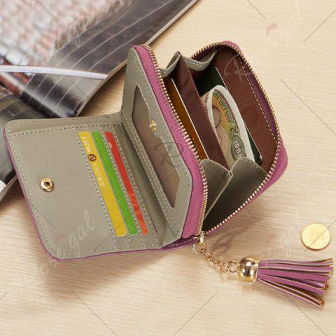 Outfit Tassel Cartoon Patch Small Wallet - PURPLE  Mobile