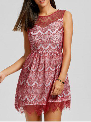 Store Scalloped Lace Dress - M RED Mobile