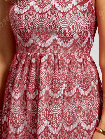 Chic Scalloped Lace Dress - M RED Mobile