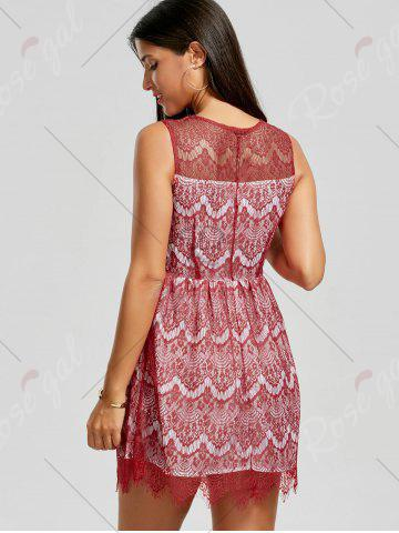 Cheap Scalloped Lace Dress - M RED Mobile