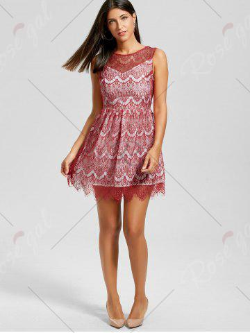 Outfit Scalloped Lace Dress - M RED Mobile