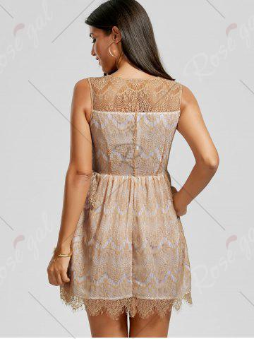 Outfits Scalloped Lace Dress - M KHAKI Mobile