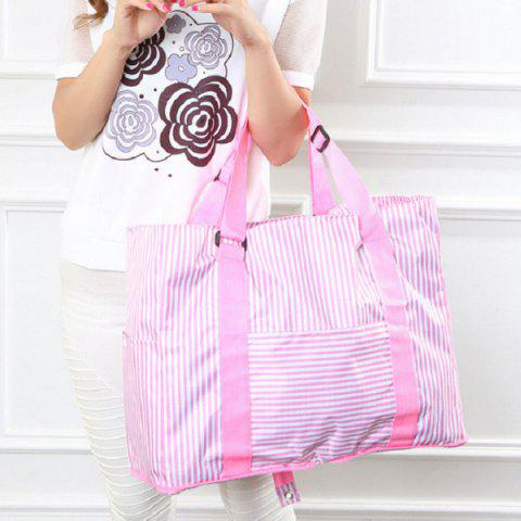 Foldable Nylon Striped Storage Bag - Pink