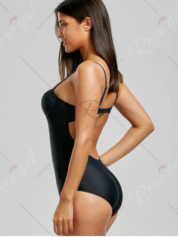 Shop Backless One Piece Push Up Swimsuit - M BLACK Mobile