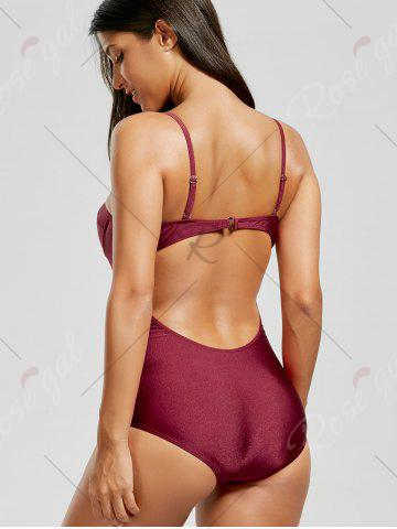 Outfits Backless One Piece Push Up Swimsuit - XL WINE RED Mobile