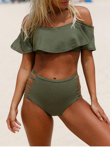 Fancy Criss Cross Cold Shoulder Bikini Set ARMY GREEN S