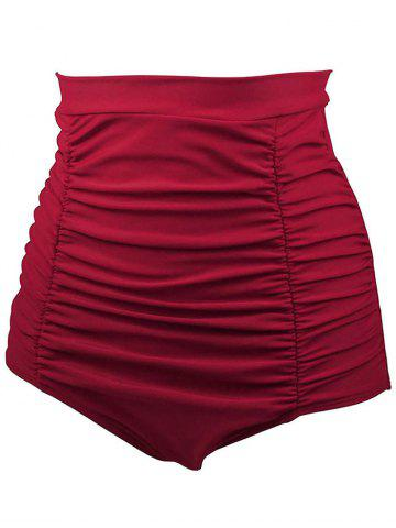 Fashion High Waisted Retro Bikini Bottom - L RED Mobile