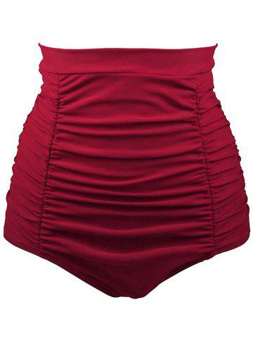 Fancy High Waisted Retro Bikini Bottom - L RED Mobile