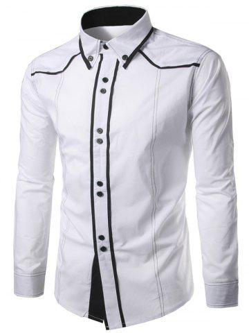 Store Contrast Trim Button Down Shirt - WHITE 2XL Mobile