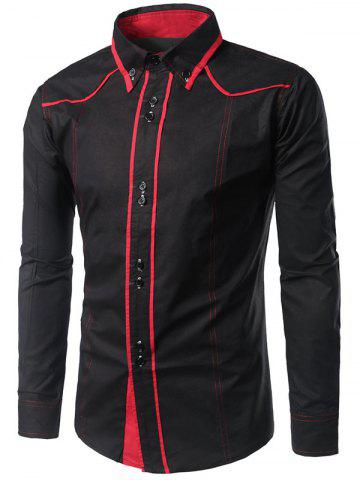 New Contrast Trim Button Down Shirt - BLACK L Mobile