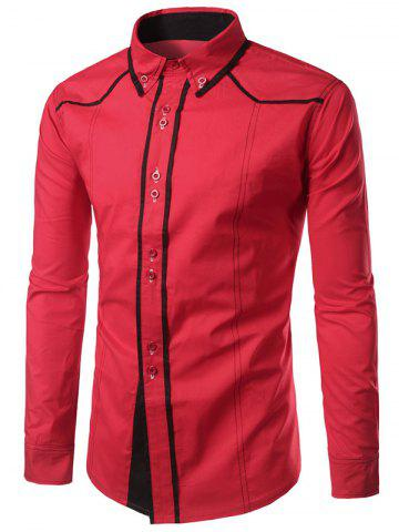 Trendy Contrast Trim Button Down Shirt - RED L Mobile
