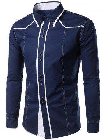 Discount Contrast Trim Button Down Shirt - PURPLISH BLUE M Mobile