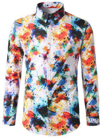 Outfits Hidden Button Colorful Paint Splatter Shirt COLORMIX M