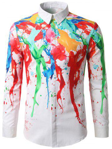 Sale Hidden Button Paint Splash Shirt COLORMIX 2XL
