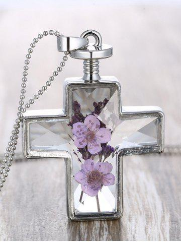 Cross Dry Flowers Inlay Beaded Chain Necklace - Transparent