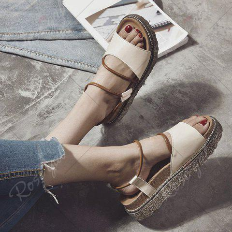 Outfits Faux Leather Platform Sandals - 39 BROWN Mobile
