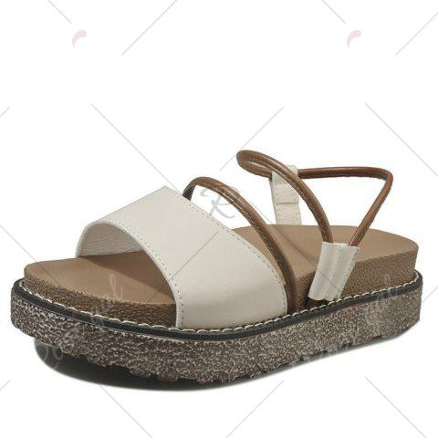 Outfit Faux Leather Platform Sandals - 39 BROWN Mobile