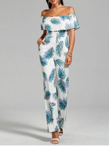 Shop Flounce Leaf Printed Jumpsuit with Pockets FLORAL L