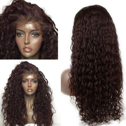 Store Long Dyed Perm Deep Side Part Water Wave Lace Front Human Hair Wig - 20INCH BROWN Mobile