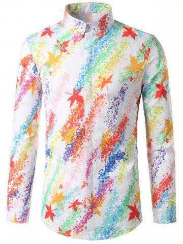 Outfit Hidded Button Maple Leaf Print Colorful Shirt COLORMIX L