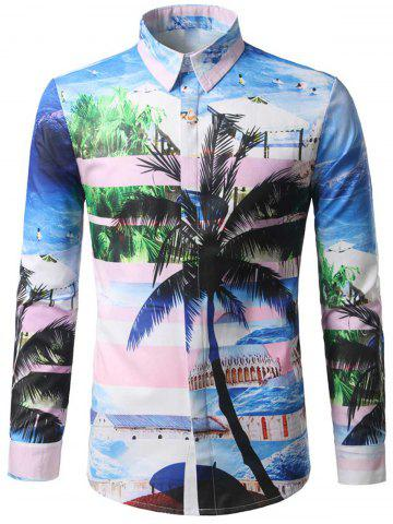 Online Hidden Button Coconut Tree Print Shirt COLORMIX XL