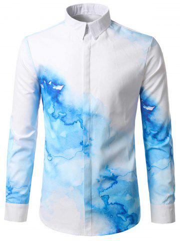Discount Ink Printed Hidden Button Shirt - M WHITE Mobile