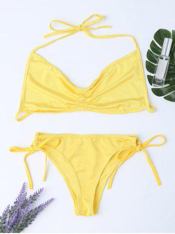 Fashion Lingeries Halter Tie Side Bra Set YELLOW ONE SIZE