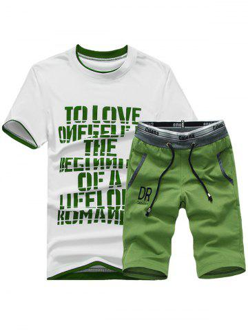 Best Short Sleeve Graphic Print Sport T-shirt and Shorts Twinset GREEN 2XL