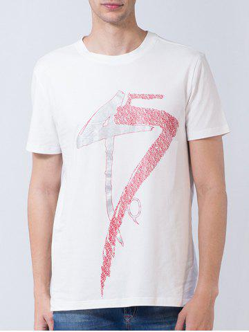 Hot Short Sleeve Number and Graphic Print T-shirt