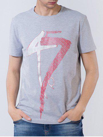 Online Short Sleeve Number and Graphic Print T-shirt GRAY 3XL