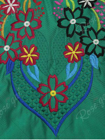 Trendy Cross Back Lace Up Embroidered Swimsuit - XL GREEN Mobile