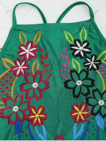 Sale Cross Back Lace Up Embroidered Swimsuit - XL GREEN Mobile