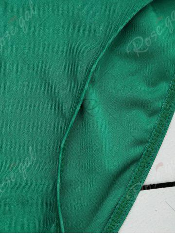 Chic Cross Back Lace Up Embroidered Swimsuit - XL GREEN Mobile