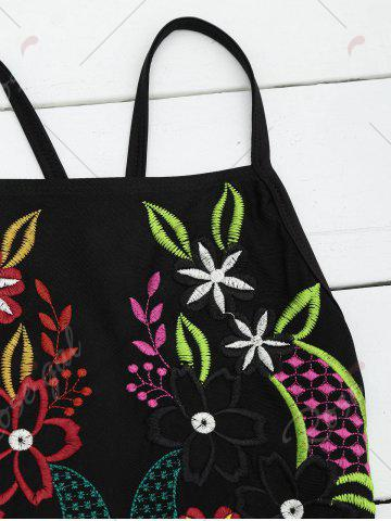 Trendy Embroidered Cross Back Floral Swimsuit - S BLACK Mobile